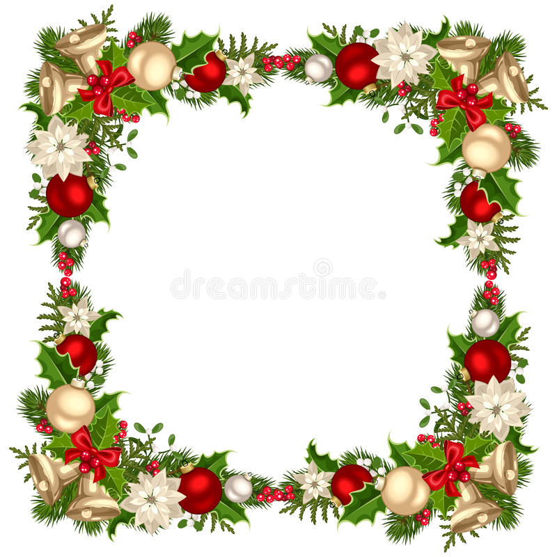 Christmas frame with fir branches, balls, bells, holly and poinsettia. Vector illustration. stock illustration