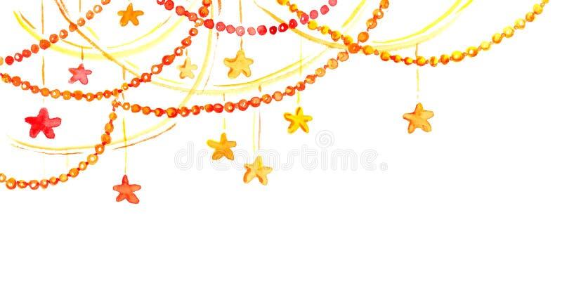 Christmas frame - garland with stars. Watercolor corner border vector illustration