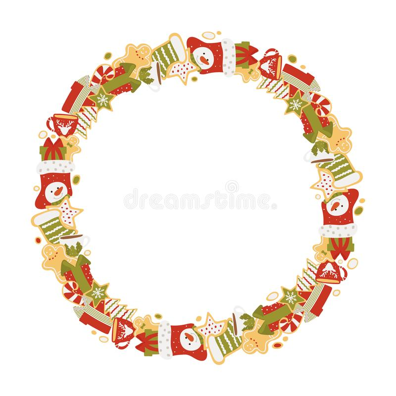 Christmas frame of gifts and sweets isolated on white background. Vector illustration in hand drawn. Style stock illustration