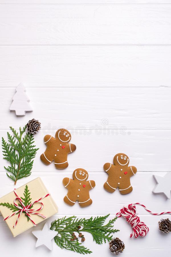 Christmas frame with gingerbread cookies, Christmas tree, pine cones, toys. Copy space for text. winter holidays. Christmas mock-up royalty free stock photos