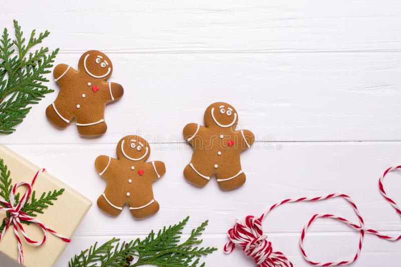 Christmas frame with gingerbread cookies, Christmas tree, pine cones, toys. Copy space for text. winter holidays. Christmas mock-up stock image