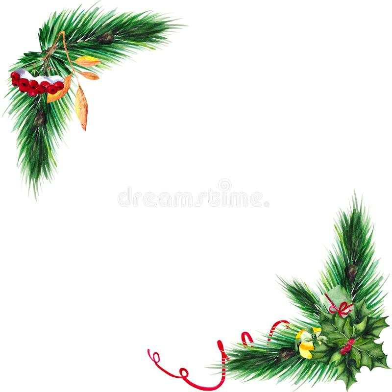 Christmas frame with green fir branches, gifts and Holly on white background with space for text. stock photos