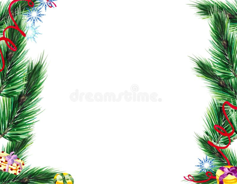 Christmas frame with green fir branches, gifts and snowflakes on white background with space for text. royalty free stock photos