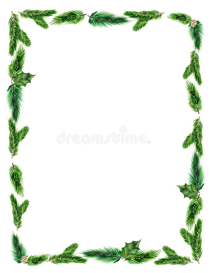 Christmas frame with green fir branches on white background with space for text. stock images