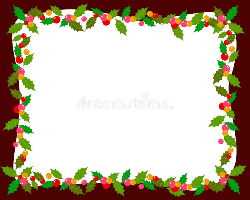 Christmas frame with holly stock illustration