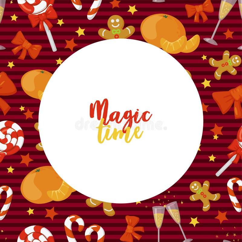 Christmas Frame. Magic time. Holiday illustration. Christmas card poster banner. stock illustration