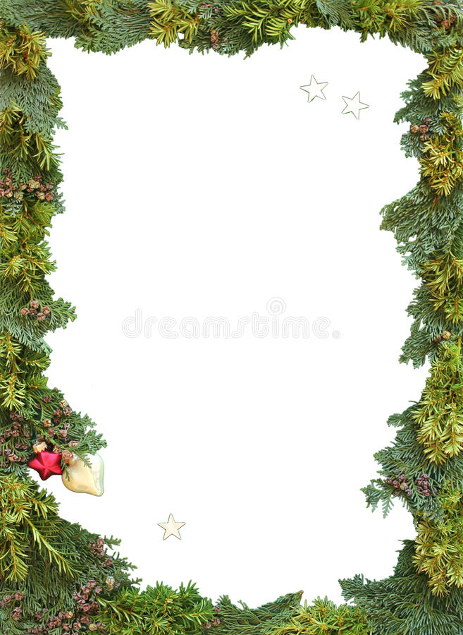 Christmas frame of natural thuja and twigs. With copy space stock illustration