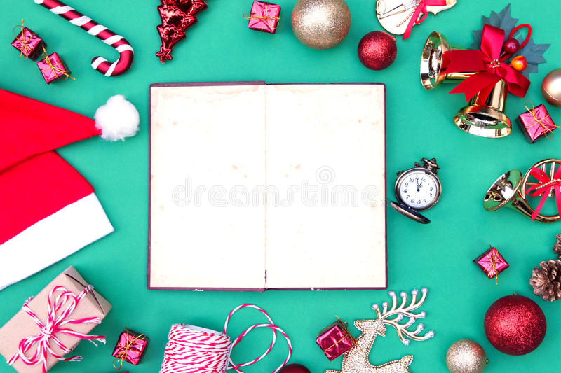 Christmas frame. With Christmas ornaments and decorations stock photos