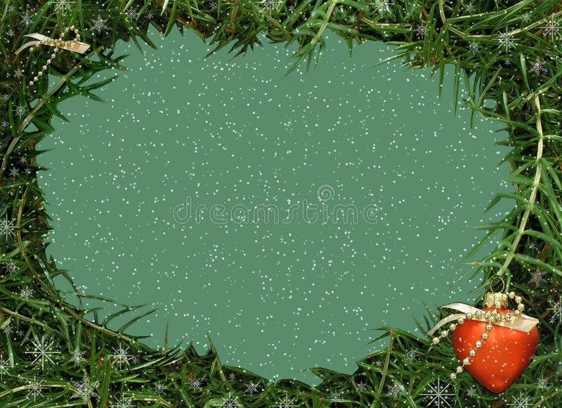 Christmas frame for photo and video.Red heart stock photography