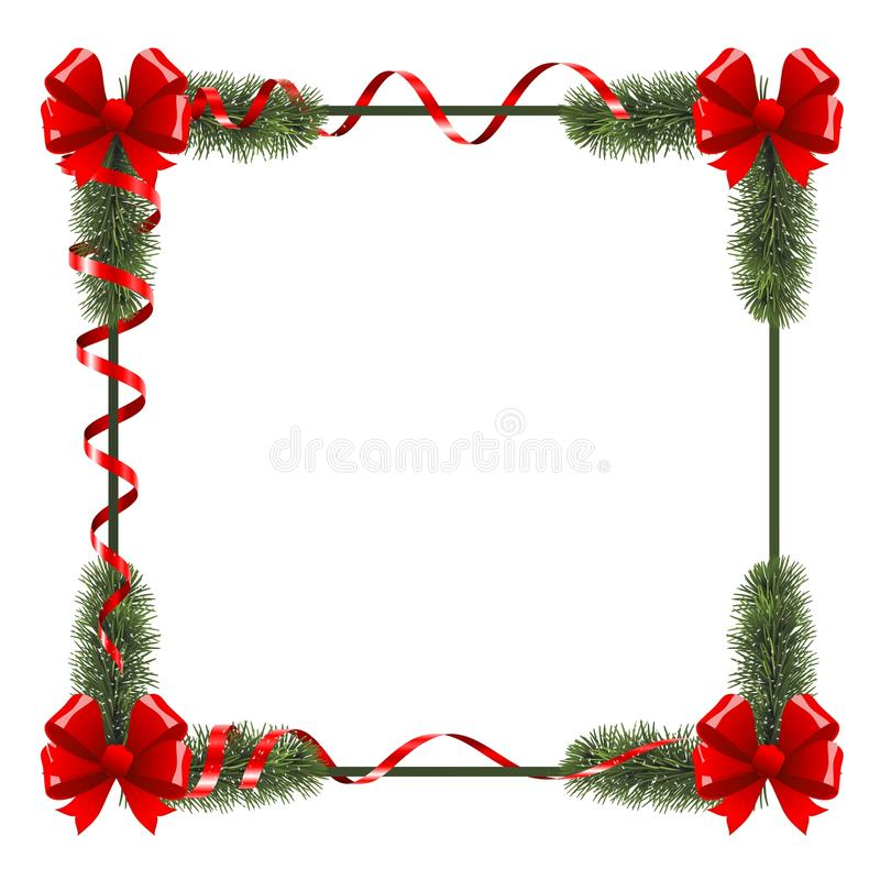 Christmas frame with red ribbons royalty free stock images