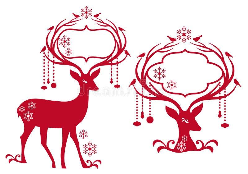 Christmas Frame With Reindeer Stock Photo