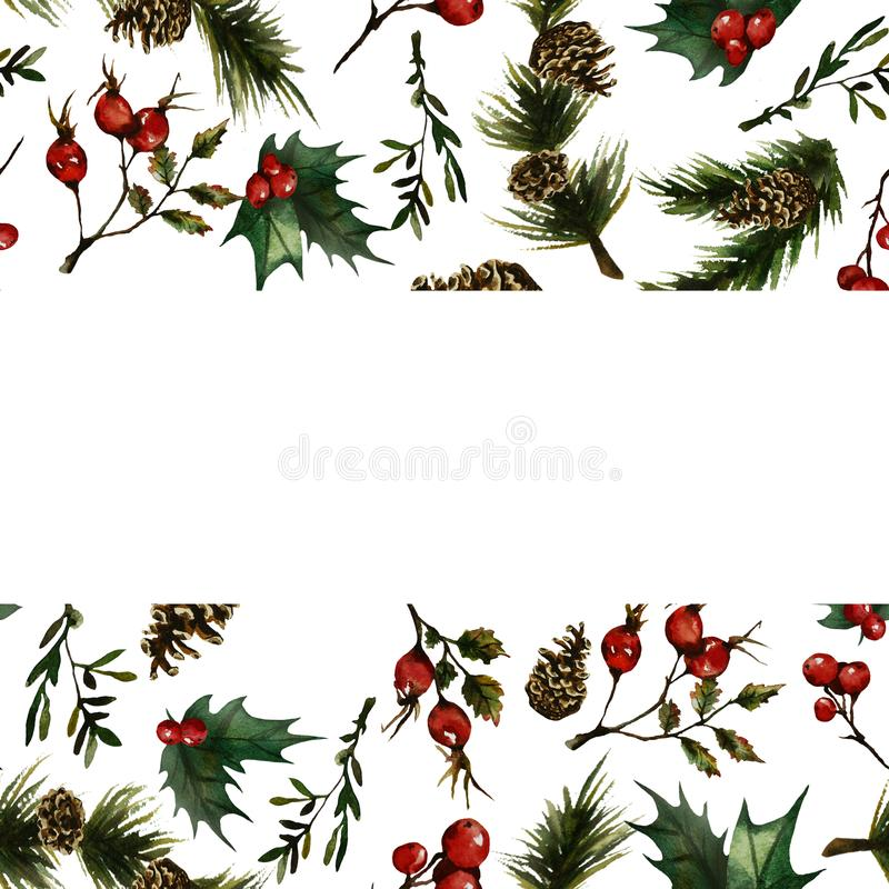 Christmas frame with rosehip royalty free illustration