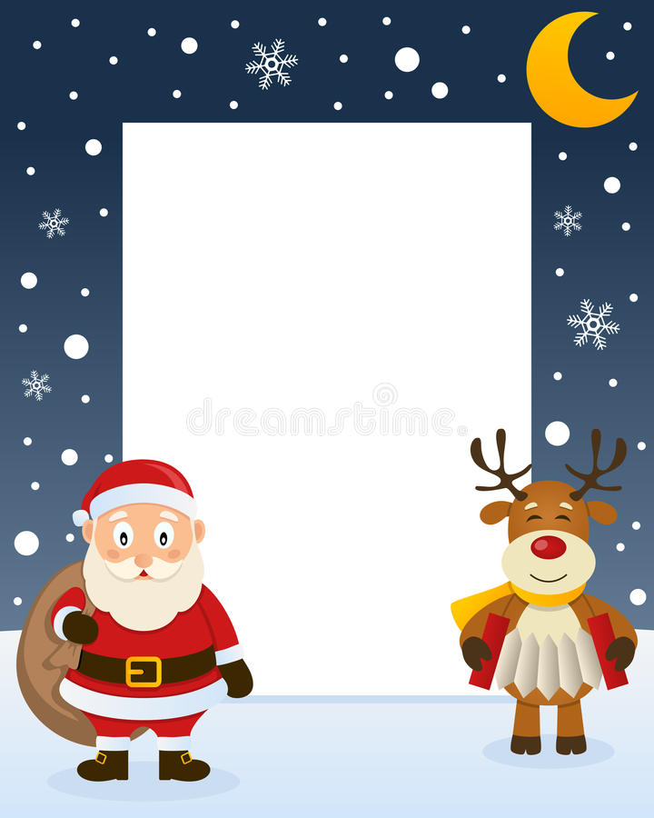 Christmas Frame - Santa Claus & Reindeer. Christmas vertical photo frame with a cute reindeer playing the accordion and a happy Santa Claus holding the sack of vector illustration