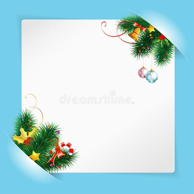 Download Christmas Frame With Sheet Of White Paper Stock Vector - Illustration: 22359101