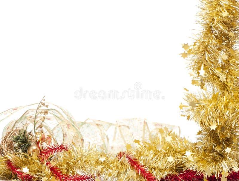 Christmas frame of shining golden tinsel stock photography