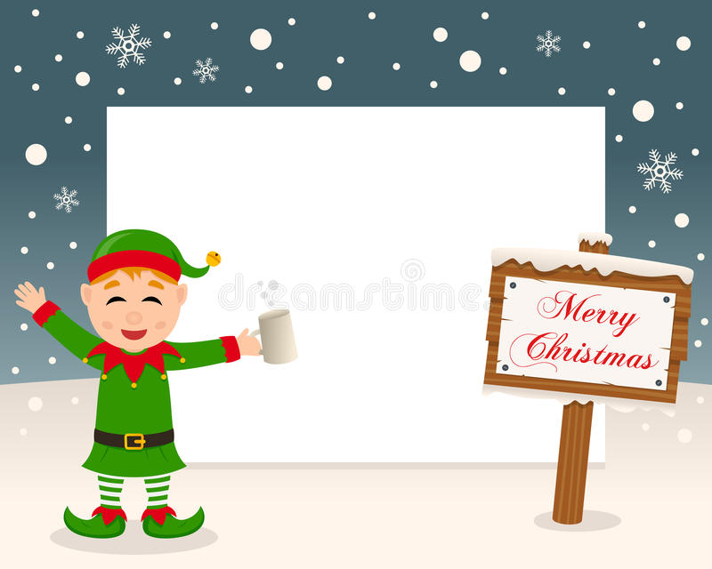Christmas Frame Sign & Drunk Green Elf stock photography