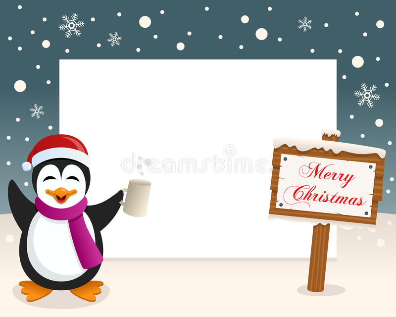 Christmas Frame Sign & Drunk Penguin stock photos