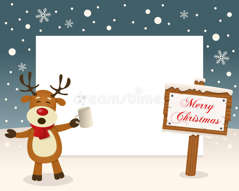 Christmas Frame Sign & Drunk Reindeer royalty free stock image
