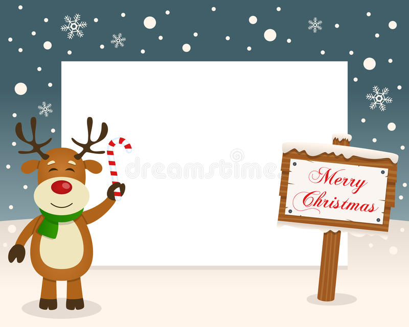 Christmas Frame Sign & Happy Reindeer royalty free stock image