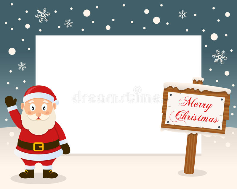 Christmas Frame Sign & Happy Santa Claus. Christmas horizontal photo frame with a happy Santa Claus smiling in a snowy scene with a merry Christmas wooden sign vector illustration