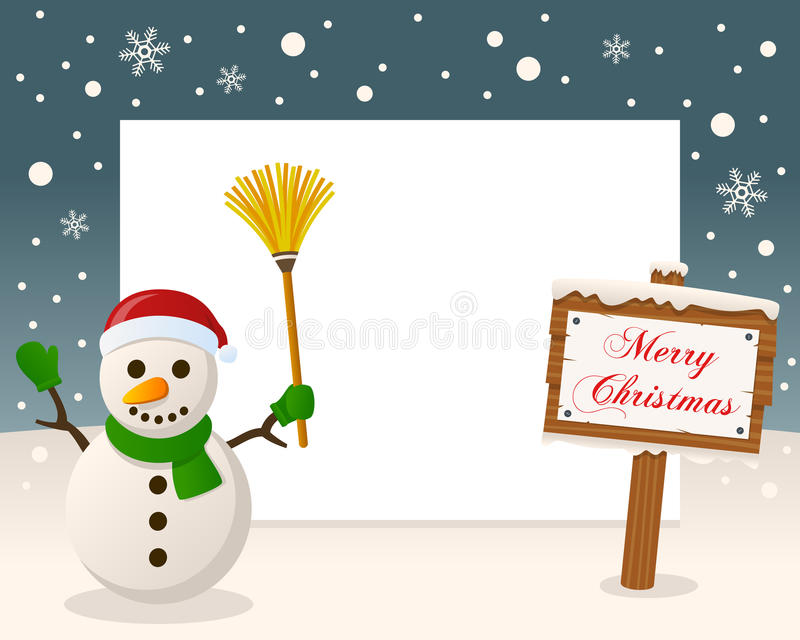 Christmas Frame Sign & Happy Snowman stock photo