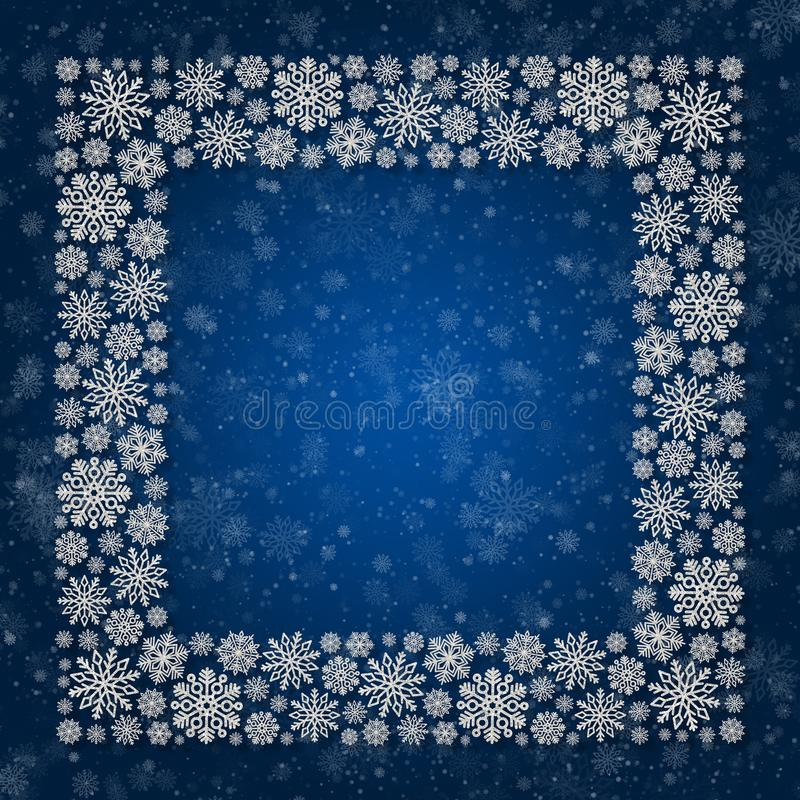 Christmas frame with silver snowflakes on a blue background. Border of sequin confetti stock illustration