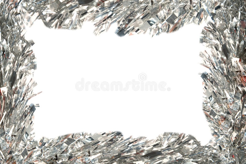 Download Christmas Frame With Silvery Tinsel Stock Image - Image of closeup, decorate: 7286219