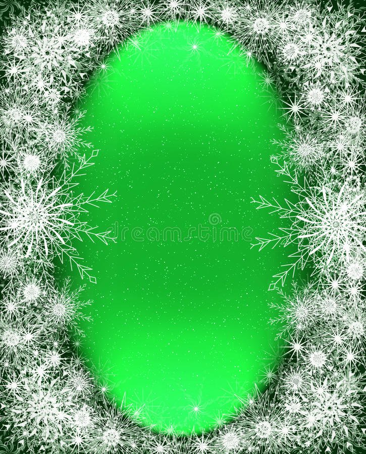 Christmas frame with snowflakes stock images