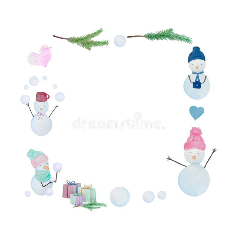 Christmas frame with snowmen drawn with color watercolor pencils. For the design of children and cute. New Year, Christmas and Holidays vector illustration