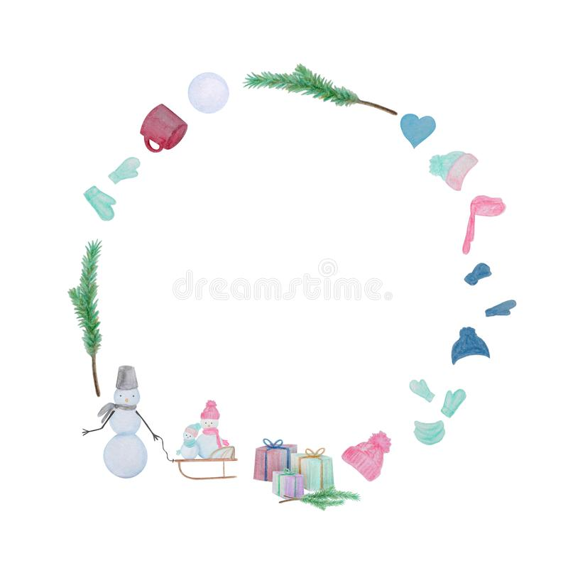 Christmas round frame with snowmen drawn with color watercolor pencils. Christmas frame with snowmen drawn with color watercolor pencils. For the design of stock illustration