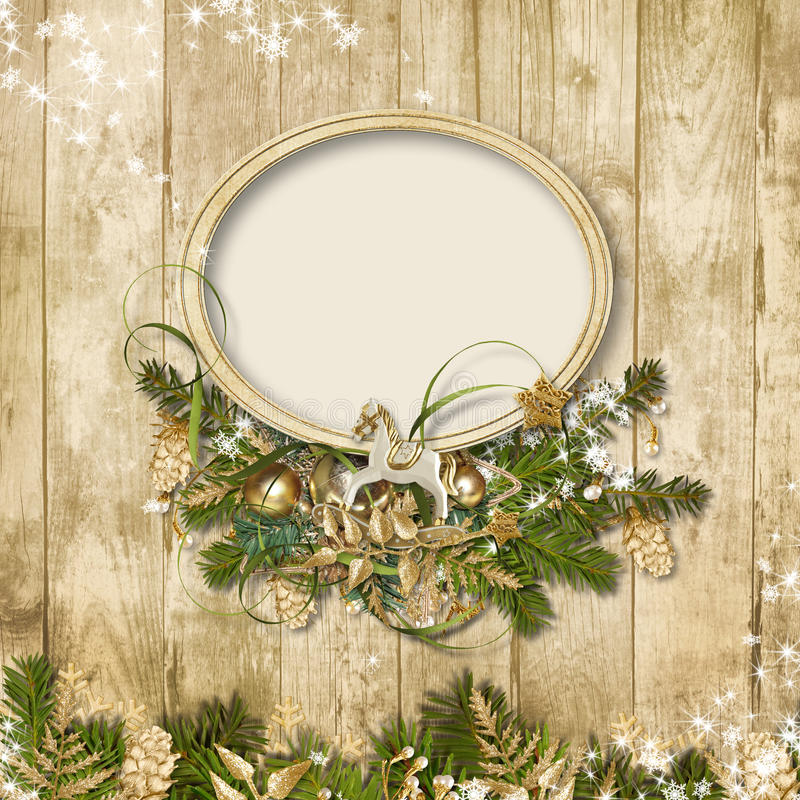 Free Christmas Frame With Miraculous Garland On A Wooden Background Stock Photo - 34909890