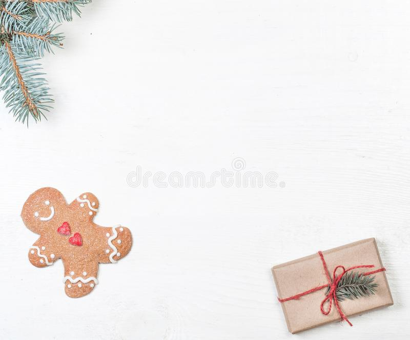 Christmas frame with xmas holiday decorations, Card Merry Christ. Mas and Happy New Year with copy space stock photos