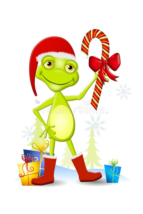 Free Christmas Frog Cartoon Stock Photo - 6438800