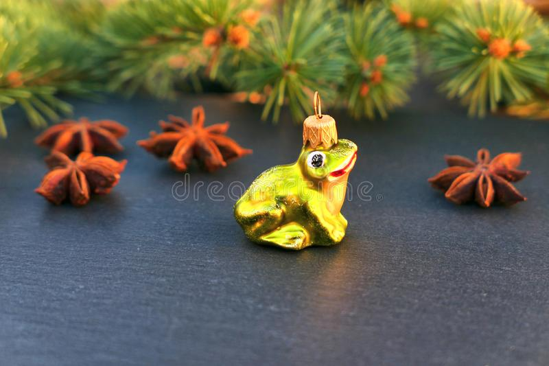 Christmas frog ornament. Holiday background stock photos