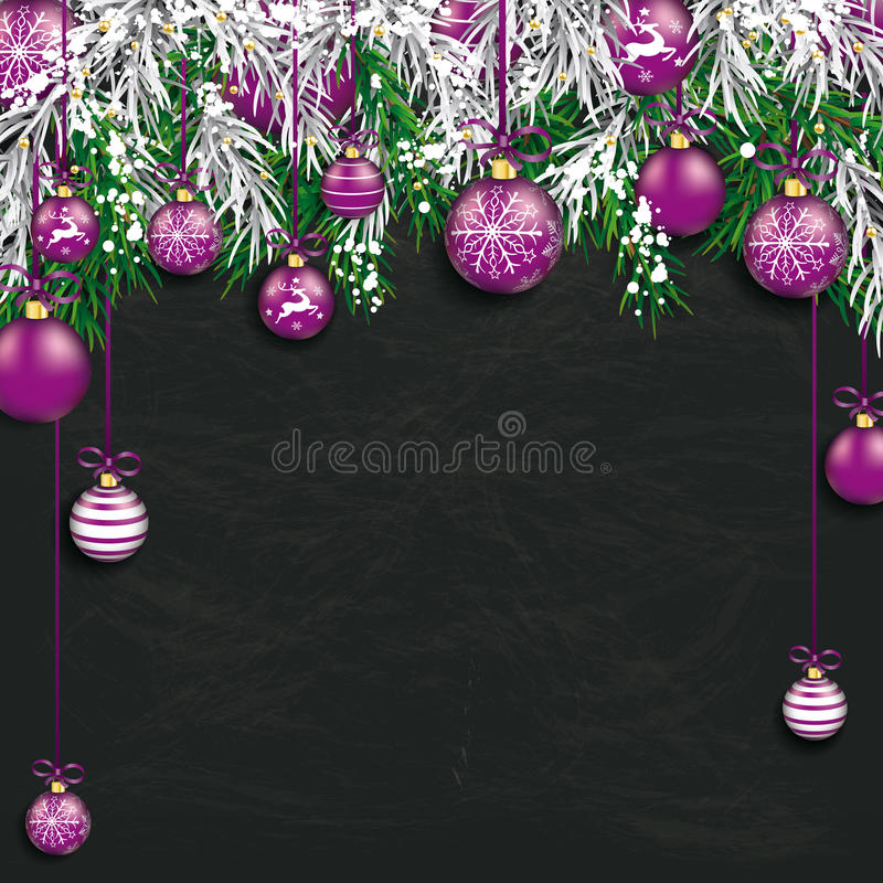 Christmas Frozen Green Fir Twigs Blackboard. Christmas card with with snow, purple baubles and fir twigs royalty free illustration