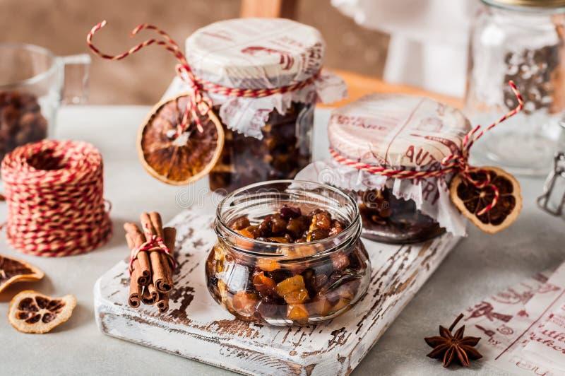 Fruit Mince - Mincemeat. Christmas Fruit Mince in Jars, British Mincemeat stock photo