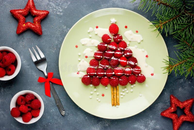 Christmas fun food idea for kids - raspberry Christmas tree stock image