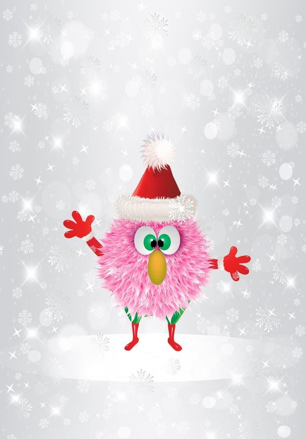 Christmas Funny Cartoon Pink Hairy Face Christmas cute postcard vector illustration