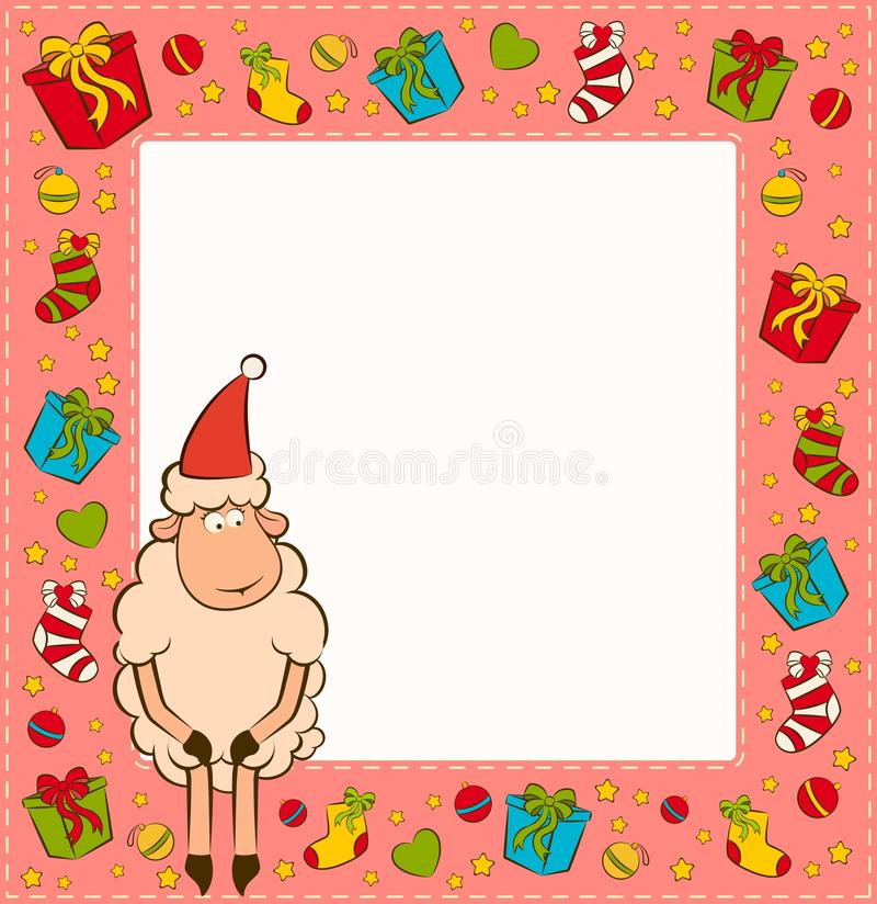 Christmas Funny Sheep Stock Photography