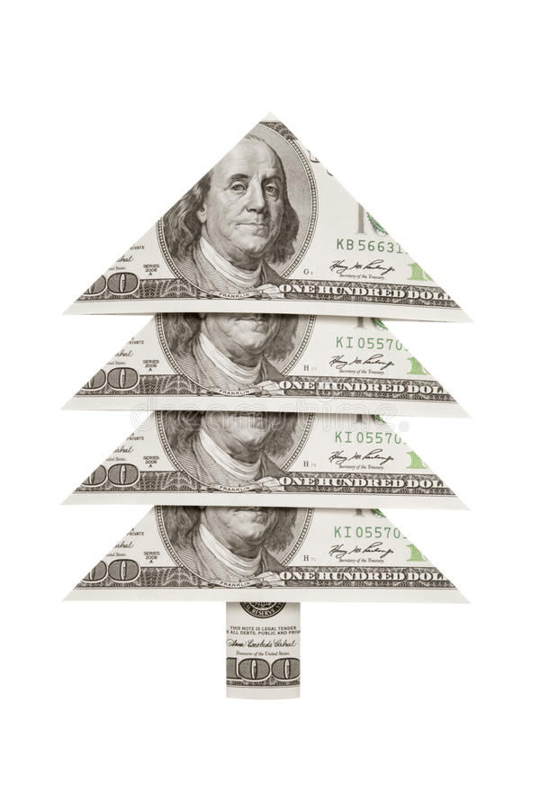 Christmas fur-tree dollar. Prosperity and well-being... royalty free stock photo