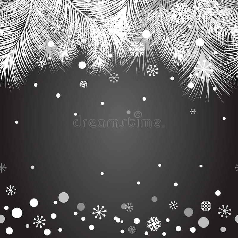 Christmas fur tree frame for Xmas design with snow vector illustration
