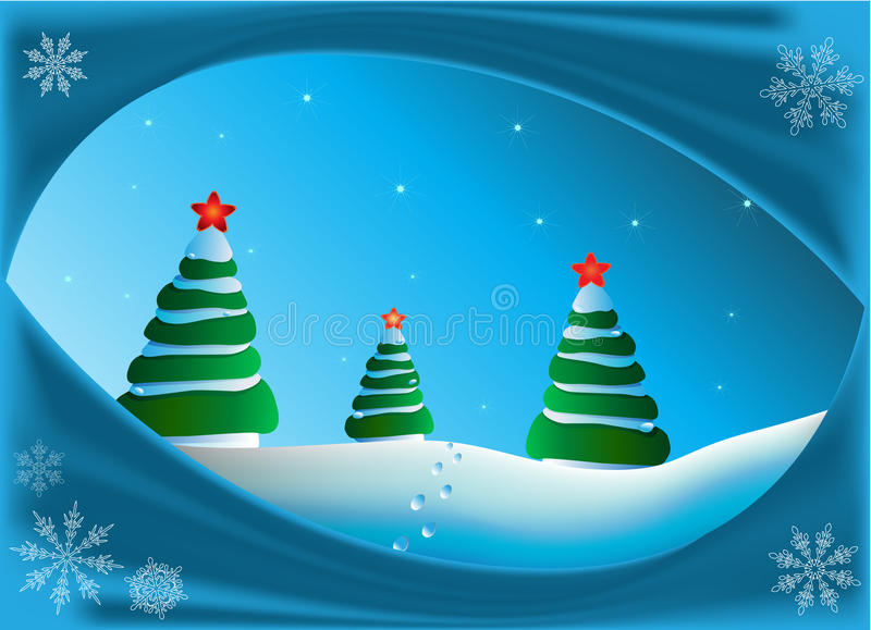Christmas fur-trees stock illustration