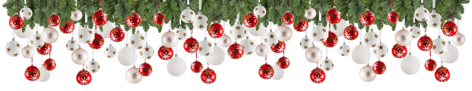 Christmas garland background with ornaments, christmas bauble royalty free stock photo