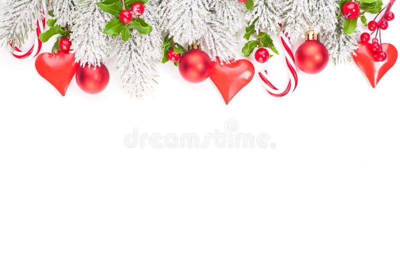 Christmas garland border on white background.  royalty free stock photo