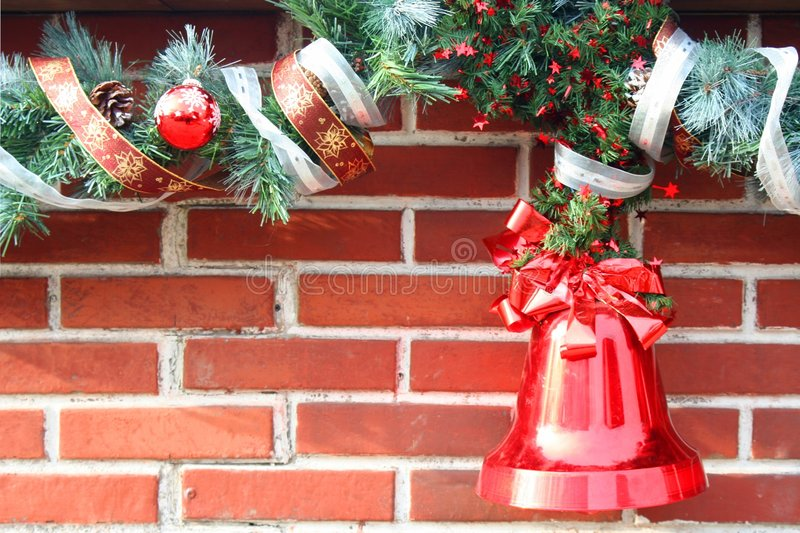 Download Christmas Garland on Brick stock image. Image of cones - 3940075