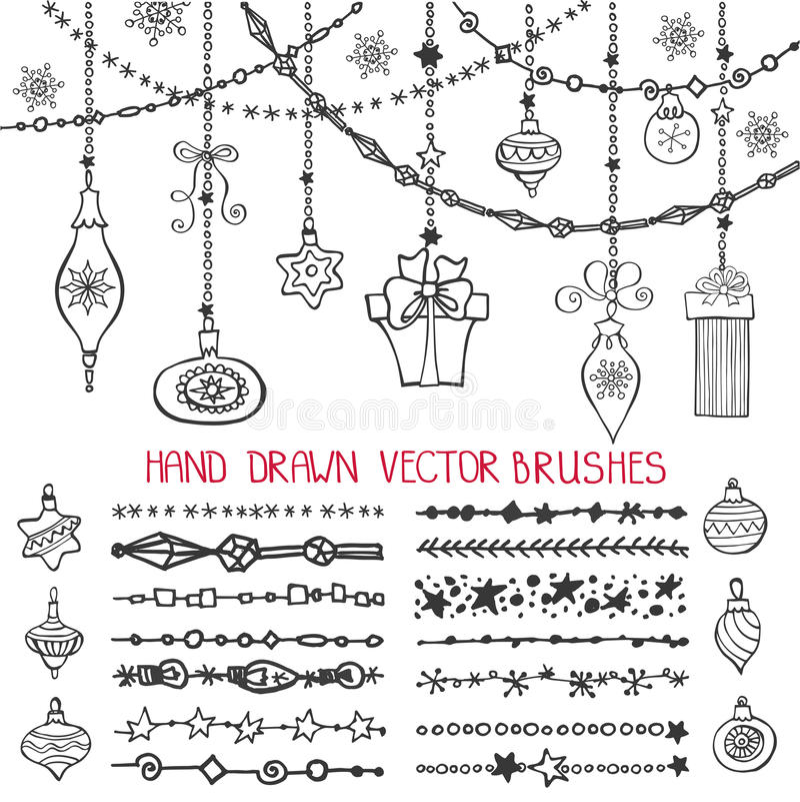 Free Christmas Garland Brushes,balls Set Stock Photos - 81223673