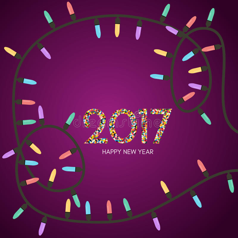 Christmas garland with colored lights. Garland scattered around the inscription 2017 royalty free illustration