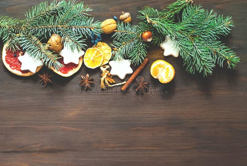 Christmas garland of fir branches. Holiday and celebration concept for postcard or invitation. Flat lay, Top view. Copy space royalty free stock image