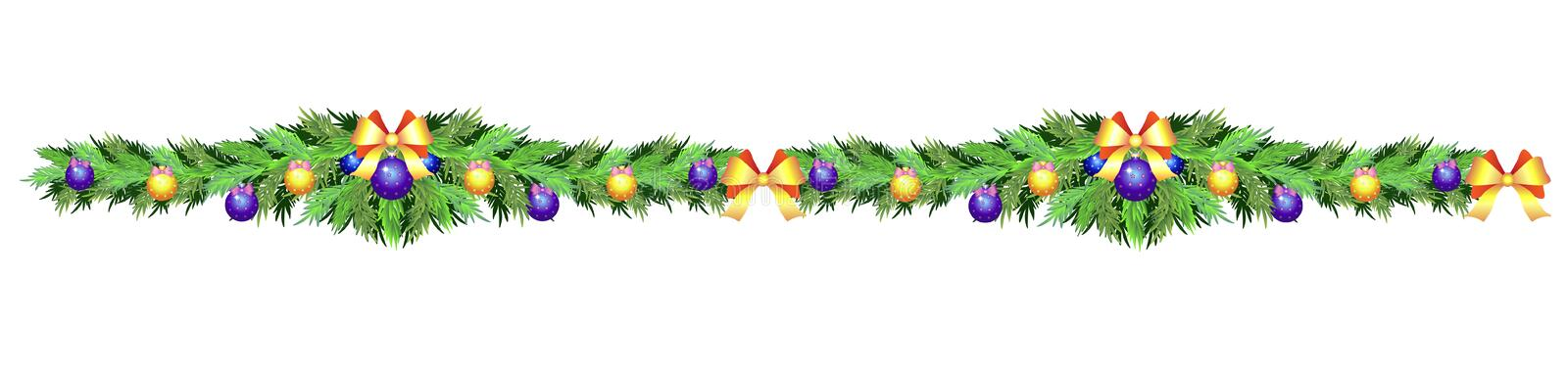Christmas garland of fir branches, ribbons, Christmas balls - seamless divider, border for decorating sites, cards, banners. royalty free illustration