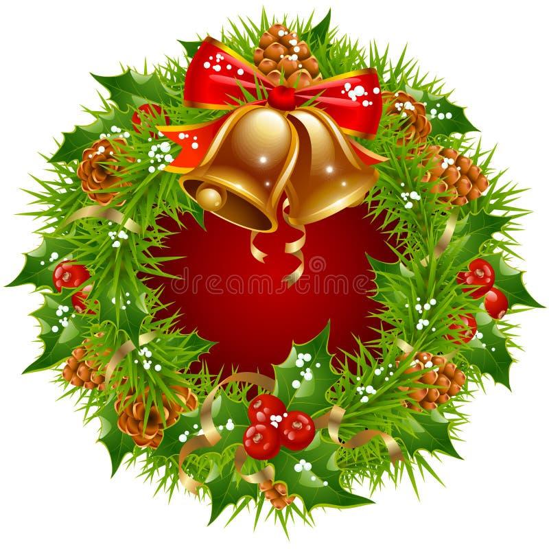 Christmas garland frame vector illustration